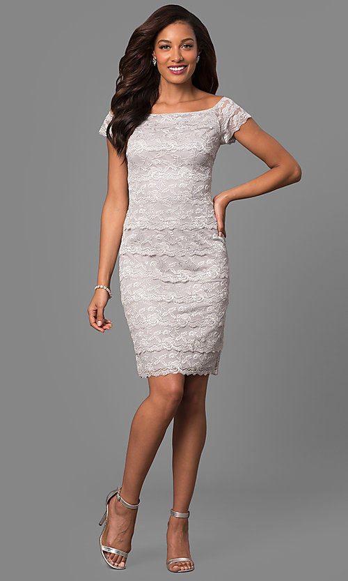 Image of tiered-lace short sheath mother-of-the-bride dress. Style: JU-MA-263295 Detail Image 1