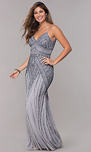 Image of v-neck beaded long formal dress with sequins. Style: JU-MA-263312 Detail Image 5