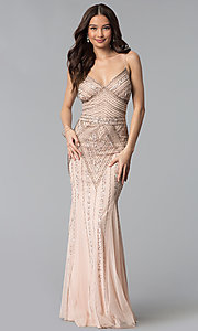 Image of v-neck beaded long formal dress with sequins. Style: JU-MA-263312 Detail Image 7
