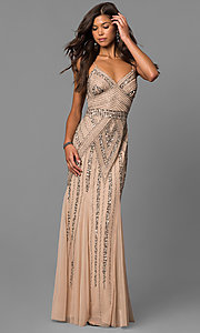 Image of v-neck beaded long formal dress with sequins. Style: JU-MA-263312 Front Image