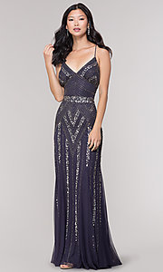 Image of v-neck beaded long formal dress with sequins. Style: JU-MA-263312 Detail Image 4