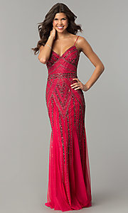 Image of v-neck beaded long formal dress with sequins. Style: JU-MA-263312 Detail Image 2