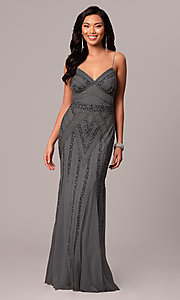 Image of v-neck beaded long formal dress with sequins. Style: JU-MA-263312 Detail Image 6