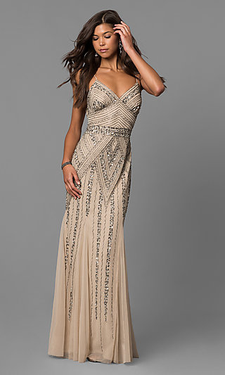 V-Neck Beaded Long Formal Dress with Sequins
