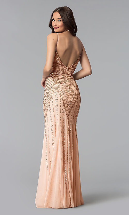 Image of v-neck beaded long formal dress with sequins. Style: JU-MA-263312 Back Image