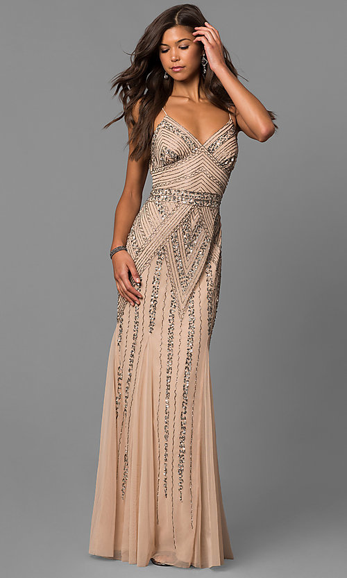 7093d75101b Image of v-neck beaded long formal dress with sequins. Style  JU-