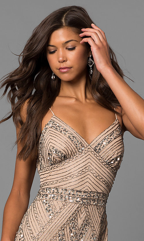 Image of v-neck beaded long formal dress with sequins. Style: JU-MA-263312 Detail Image 1
