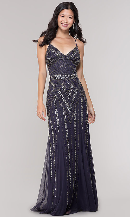 Image of v-neck beaded long formal dress with sequins. Style: JU-MA-263312 Detail Image 3