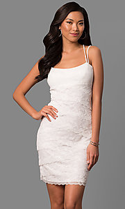 Image of ivory white lace tiered short sheath party dress. Style: JU-MA-263373 Front Image