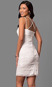 Image of ivory white lace tiered short sheath party dress. Style: JU-MA-263373 Back Image