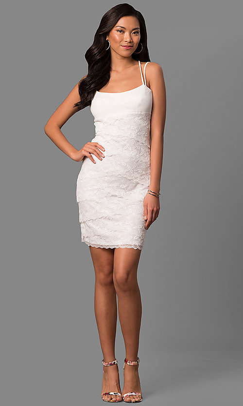 Image of ivory white lace tiered short sheath party dress. Style: JU-MA-263373 Detail Image 1