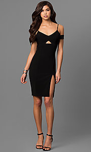Image of cut-out short black party dress with banded sleeves.  Style: EM-FCC-1027-001 Detail Image 1