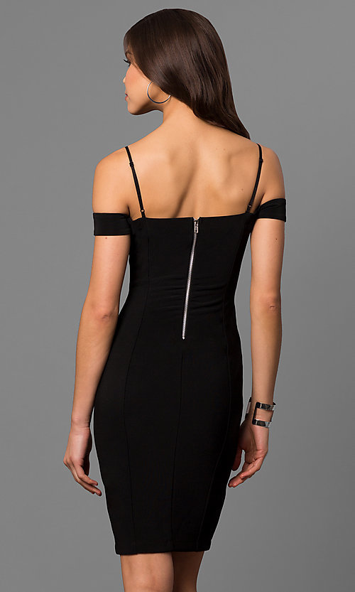 Image of cut-out short black party dress with banded sleeves.  Style: EM-FCC-1027-001 Back Image