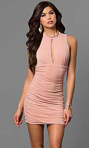 Image of short apricot pink party dress with empire waist. Style: EM-FFH-1061-848 Front Image