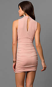 Image of short apricot pink party dress with empire waist. Style: EM-FFH-1061-848 Back Image