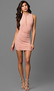 Image of short apricot pink party dress with empire waist. Style: EM-FFH-1061-848 Detail Image 1