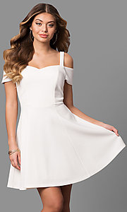 Image of cold-shoulder ivory white graduation party dress. Style: EM-FEE-2019-120 Front Image