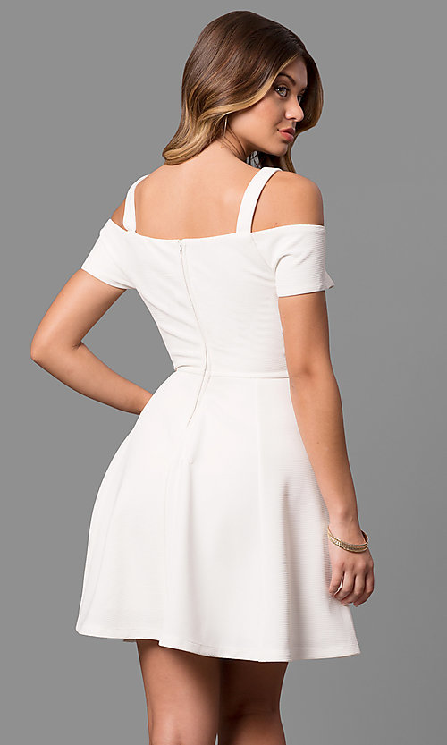 Image of cold-shoulder ivory white graduation party dress. Style: EM-FEE-2019-120 Back Image