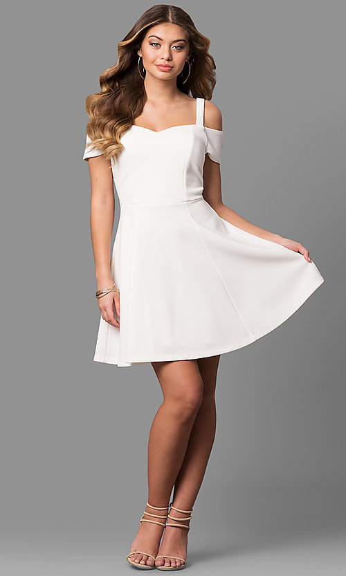 Image of cold-shoulder ivory white graduation party dress. Style: EM-FEE-2019-120 Detail Image 1