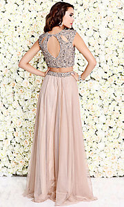 Image of cut-out two-piece long prom dress with beading. Style: SK-1118 Detail Image 2