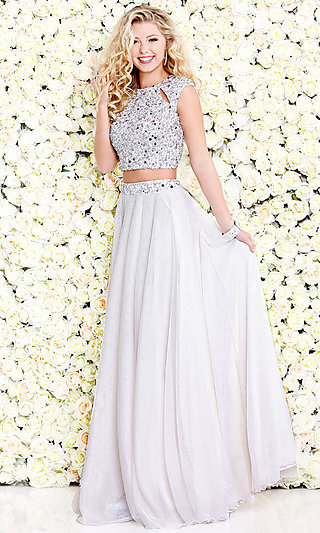 Cut-Out Two-Piece Long Prom Dress with Beading