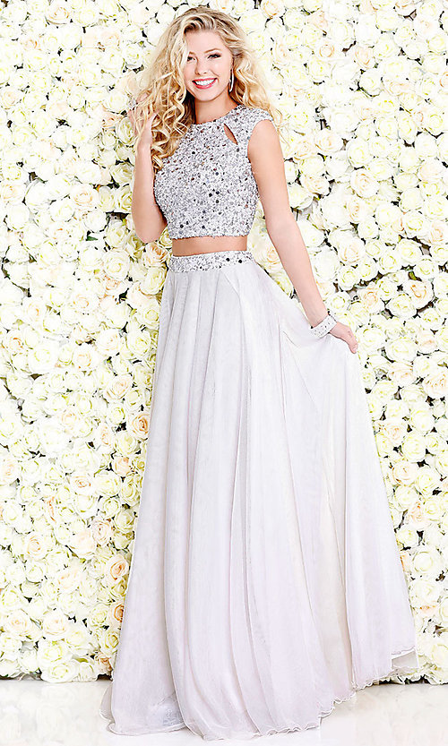 Image of cut-out two-piece long prom dress with beading. Style: SK-1118 Front Image