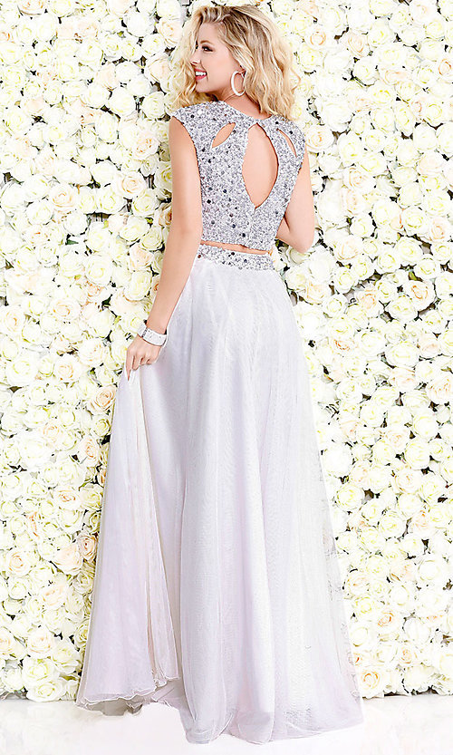 Image of cut-out two-piece long prom dress with beading. Style: SK-1118 Back Image