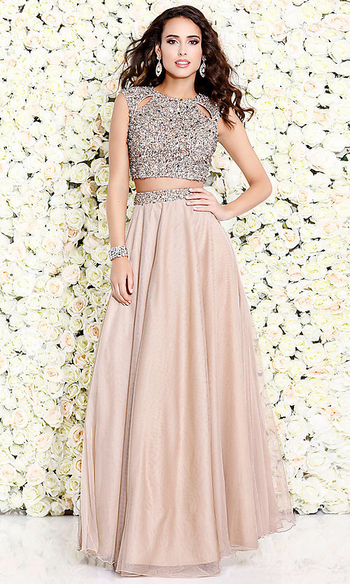 Image of cut-out two-piece long prom dress with beading. Style: SK-1118 Detail Image 1