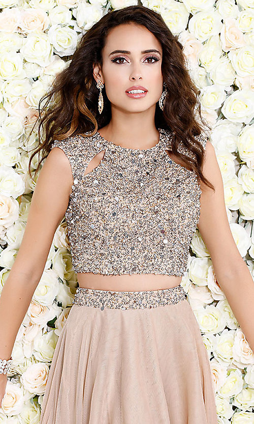 Image of cut-out two-piece long prom dress with beading. Style: SK-1118 Detail Image 3