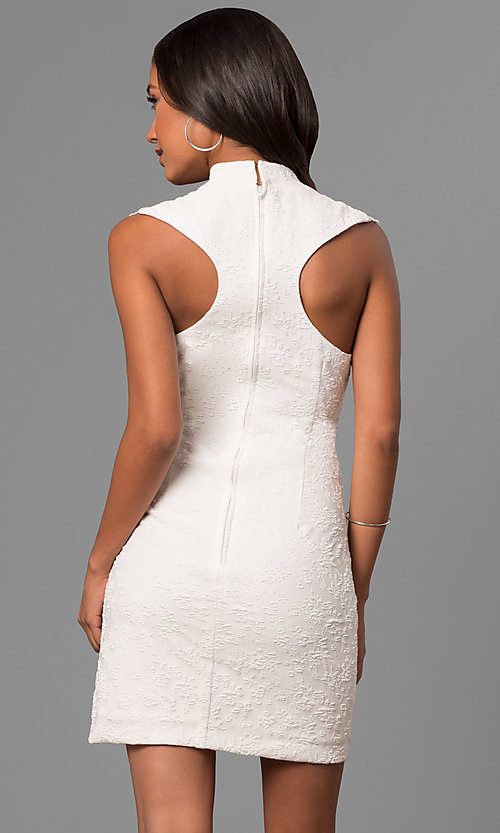 Image of textured short white party dress with lace neckline. Style: DMO-J316337 Back Image