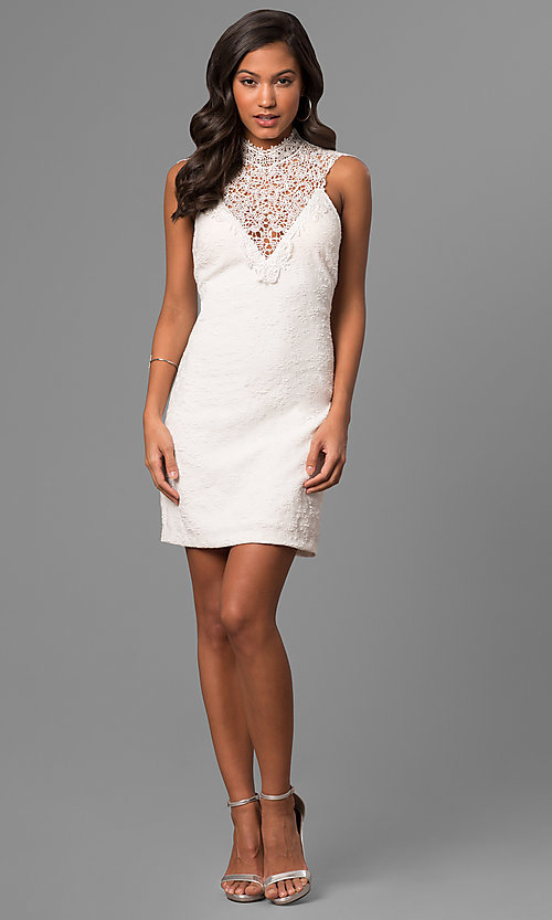Image of textured short white party dress with lace neckline. Style: DMO-J316337 Detail Image 1