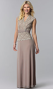 Image of lace-bodice long chiffon mother-of-the-bride dress. Style: JU-ON-648974 Detail Image 3