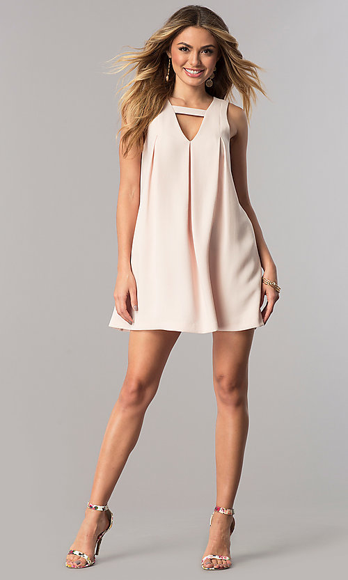 Image of shift v-neck graduation party short dress. Style: BC-GEF68H10 Detail Image 1