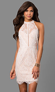 Image of off-white short lace graduation party dress. Style: AC-CD10576BS Front Image