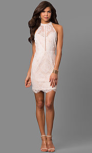Image of off-white short lace graduation party dress. Style: AC-CD10576BS Detail Image 1