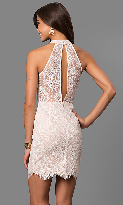 Image of off-white short lace graduation party dress. Style: AC-CD10576BS Back Image