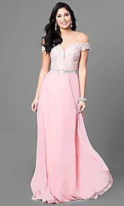 Image of long off-the-shoulder lace-bodice prom dress. Style: DQ-9701 Detail Image 2