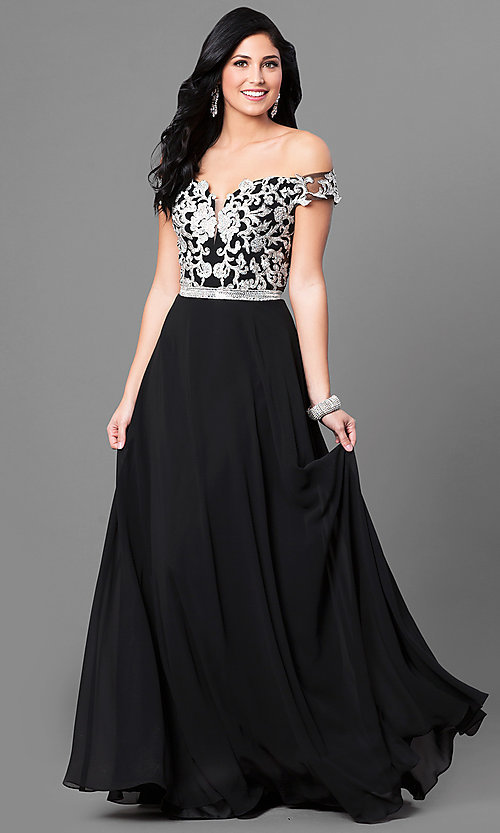 Image of long off-the-shoulder lace-bodice prom dress. Style: DQ-9701 Front Image