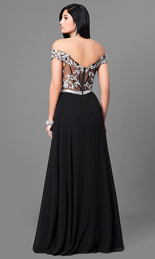 Image of long off-the-shoulder lace-bodice prom dress. Style: DQ-9701 Back Image