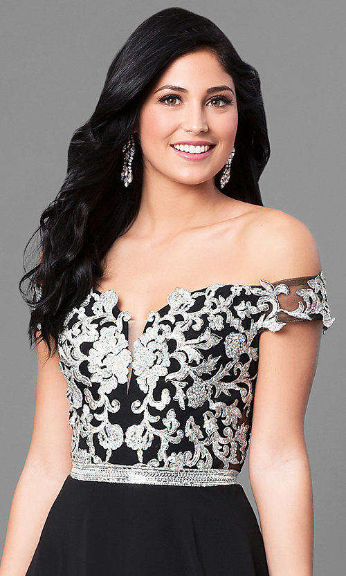 Image of long off-the-shoulder lace-bodice prom dress. Style: DQ-9701 Detail Image 1