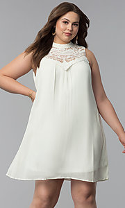 Image of high-neck shift plus-size graduation party dress.  Style: AS-i738565e4x Front Image