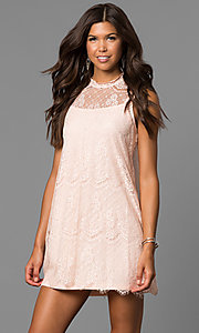 Image of short shift lace graduation party dress with keyhole. Style: AS-i745056a35 Detail Image 2