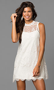 Image of short shift lace graduation party dress with keyhole. Style: AS-i745056a35 Detail Image 1