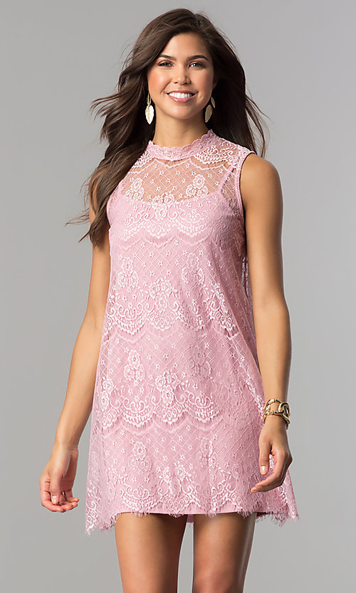 Image of short shift lace graduation party dress with keyhole. Style: AS-i745056a35 Detail Image 3