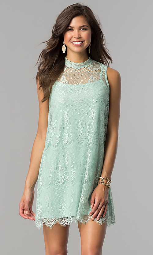 Image of short shift lace graduation party dress with keyhole. Style: AS-i745056a35 Front Image