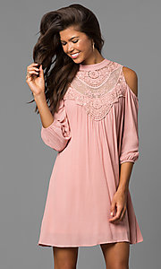 Image of cold-shoulder short shift dress with long sleeves. Style: AS-i448265e4 Front Image