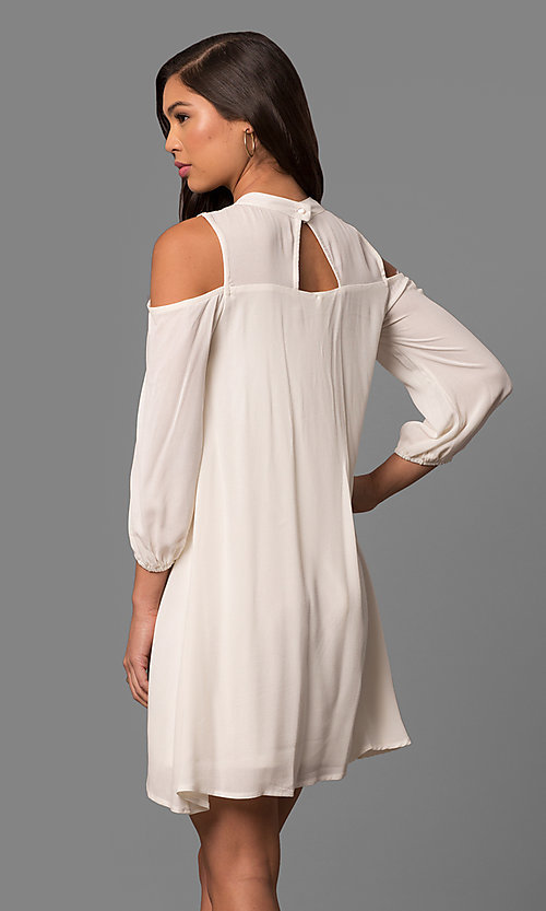 Image of cold-shoulder short shift dress with long sleeves. Style: AS-i448265e4 Back Image