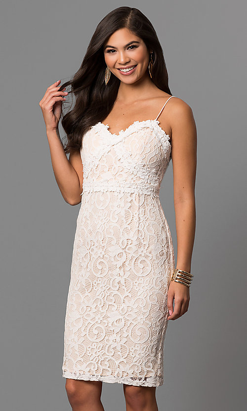 Image of short off-white graduation party dress in lace. Style: AC-DE22693T Front Image
