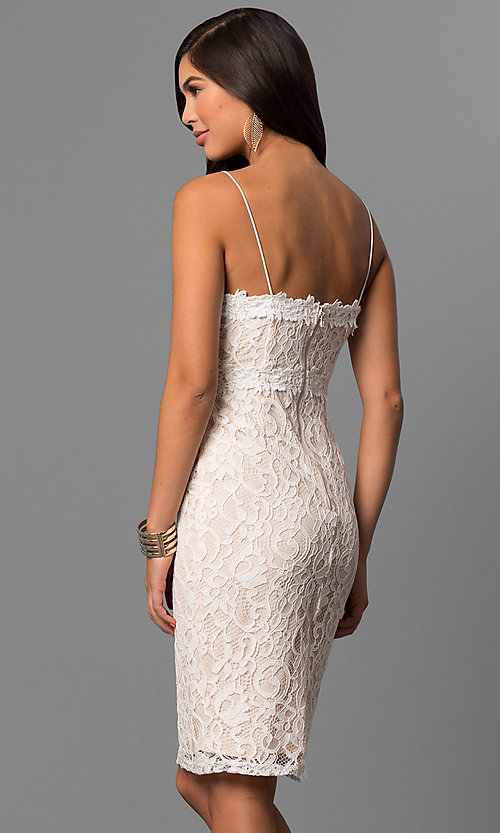 Image of short off-white graduation party dress in lace. Style: AC-DE22693T Back Image