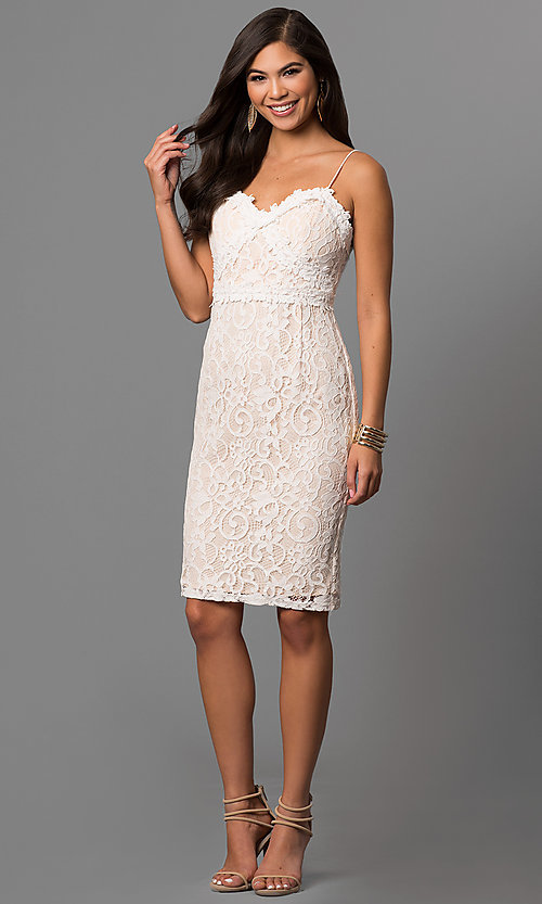 Image of short off-white graduation party dress in lace. Style: AC-DE22693T Detail Image 1